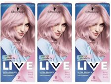 Schwarzkopf Live Ultra Brights Pretty Pastel Rose Gold Hair Dye Semi/Per Pack 3.