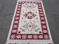 Old Traditional Hand Made Oriental Indian Kilim Cream white Wool Kilim 189x121cm