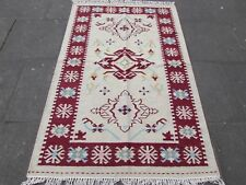 Old Traditional Hand Made Oriental Indian Kilim Cream white Wool Kilim 189x121cm