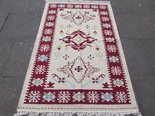 VECCHIO fatto a mano tradizionale Indiano Orientale Kilim BIANCO PANNA lana Kilim 189x121cm