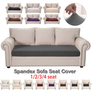 1/2/3/4 Seater Solid Slip Covers Protector Sofa Seat Cushion Cover Stretchy Acce