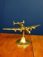 Vintage Brass WW2 Halifax Bomber Aeroplane stand Desk Model Ornament Display