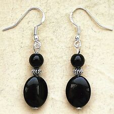 Black Agate Earrings Gemstone Drops Sterling Silver Hooks New Dangle Drops LB309