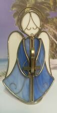 White and Blue Stained Glass Angel with Silver Tone Lead Tea Light Candle Holder