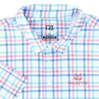 "Cutter & Buck Men XL 52"" Towa Golf Club Polo Shirt Blue Red Plaid Polyester"