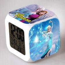 Reveil cube led lumière nuit alarm clock reine neiges personnalisé prénom réf 18