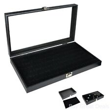 Jewelry Display Case Box W 72 Slot Ring Tray Holder Organizer Storage Glass Show