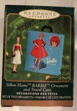 Silken Flame Barbie and Travel Case Ornament Set QXM6031 2 Mini Ornaments New