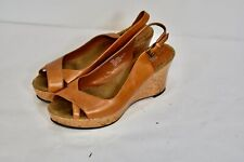 Nicole Brown Tan Leather Cork  Wedge Open-Toe Slingback Shoes Heels 8.5
