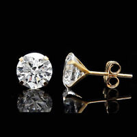 2.5CT CREATED DIAMOND MARTINI EARRINGS 14K YELLOW GOLD SOLITAIRE 4-PRONG STUDS