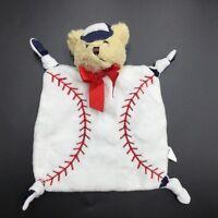 Bearington Baby Baseball Teddy Bear Security Blanket Lovey White Tan Collection