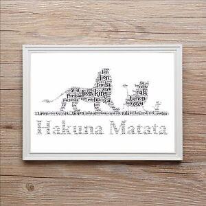 Hakuna Matata Lion King Special Word Art Print Gift Birthday Boy Girl Birthday
