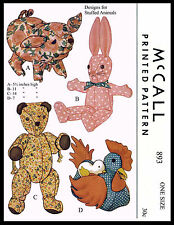 McCall #893 PIG ROOSTER BEAR BUNNY Toy Stuffed Animal Fabric Sew Pattern COUNTRY