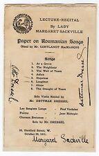 Lady Margaret Sackville 1881-1963 English poet/children's author Signed brochure