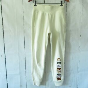 Champion Reverse Weave Sweat Jogger Pants S Small Cream Spellout