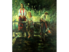 Impressionist Original Oil on Canvas, Signed & Titled Verso. The Garden Bridge