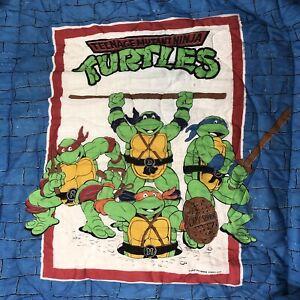 Vintage Teenage Mutant Ninja Turtles Twin Comforter Blanket TMNT 1990 J5Y