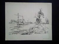 Belle impression Charles Pollaci grand format signée et numérotée paysage 1962