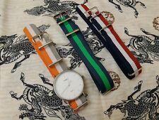 Timex Unisex Fairfield 41 Blue/Green Nylon Slip-Thru Strap Watch w/ Extra Straps
