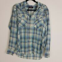 Levi Plaid Pearl Snap Button Up Womens sz XL