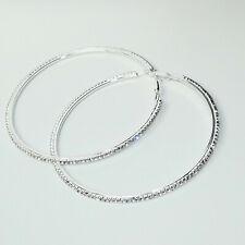 Creolen Elegant Strass Rund Hoops Ring Klassische Runde Ohrringe 90 mm