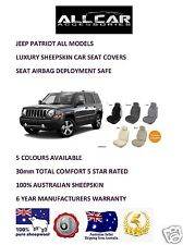Sheepskin Car Seatcovers for Jeep Patriot, Seat Airbag Safe, 5 Colours, 30mm TC