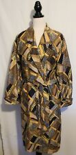 VINTAGE 1970s ~ Taurus Design Gold Brown Yellow Geometric Cotton Dressing Gown M