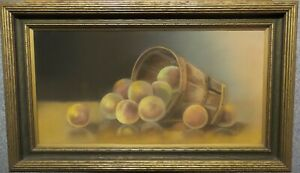 ANTIQUE AMERICAN STILL LIFE BASKET OF PEACHES PASTEL PAINTING ORNATE FRAME