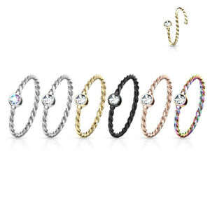 Nose Hoop Ring 316L Surgical Steel Crystal Set Twisted Rope