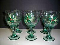GLASS GOBLET SET (6) HANDPAINTED-HOLLY DESIGN FOR CHRISTMAS