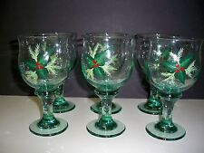 GLASS GOBLET SET (6) HANDPAINTED-HOLLY DESIGN FOR CHRISTMAS