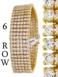 Men's New 14k Yellow Gold Finish 6 Row Diamond Simulate Bracelet 8.5 Inch 20mm