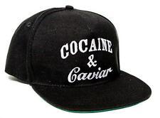 New Cocaine & Caviar Embroidered Flat Bill 5 Panel Black Snapback Hat Cap