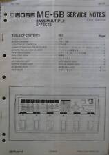 Boss ME-6B Bass Effects Unit Original Service Notes, Schematics, Parts List Book