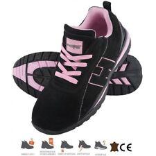 Basket de sécurité femme , chaussure de travail noir / rose DINA