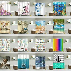 Waterproof Polyester Fabric Bathroom Shower Curtain Sheer Panel Decor 12 Hooks