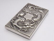 RARE ANTIQUE CHINESE EXPORT SOLID SILVER CARD CASE c1900