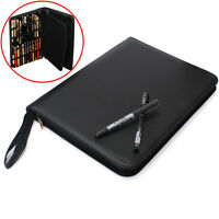 48 Pens Portable Black Leather Case Storage Bag Holder For Roller Fountain Pen