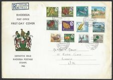 Rhodesia 1996 pictorial definitives set of 12 on registered FDC to UK