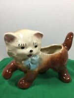 Vintage Ceramic Brown Kitten Cat Planter, Blue Eyes, Blue Bow, 1940s-1950s