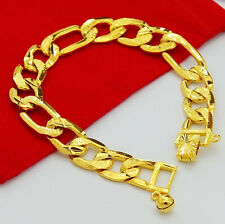 """Cool 24K Yellow Gold Plated 3 Space 1 Strong Men Chain Bracelet 12MM 8"""" jH009"""
