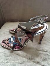 Karen Millen blue red pink silver floral multi colour sandal shoes UK size 7