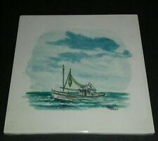 Hand Painted Ceramic Tile Nautical Sailing Fishing Boat Ocean Decor Large 8 inch