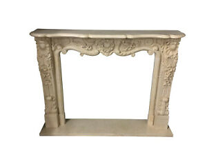 Hand Carved French Style Marble Fireplace Mantel, Beige, Marble #904