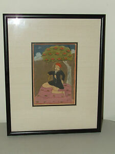 """Antique Signed Asian Watercolor Painting """"Wise Man Meditating Under Bodhi Tree"""""""