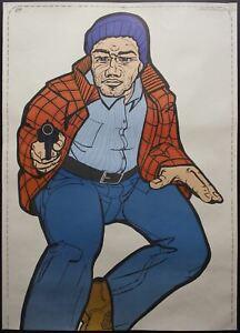 1974 ATS Quik Slip Human Figure Police Target Poster Bad Guy Thug with Gun