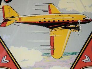 "Original/Vintage 1939 EXHIBITS ""AIRLINER"" Pinball Machine Backglass"