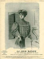 Publicité ancienne mode la cour Batave spécialité de blanc 1908 issue magazine