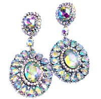 Chandelier Earrings Rhinestone AB Austrian Crystal Bridal Prom Pageant 3 inch