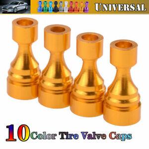 4X Universal Car Tire Tyre Gold Wheel Air Port Dust Cover Valve Stem Caps Auto